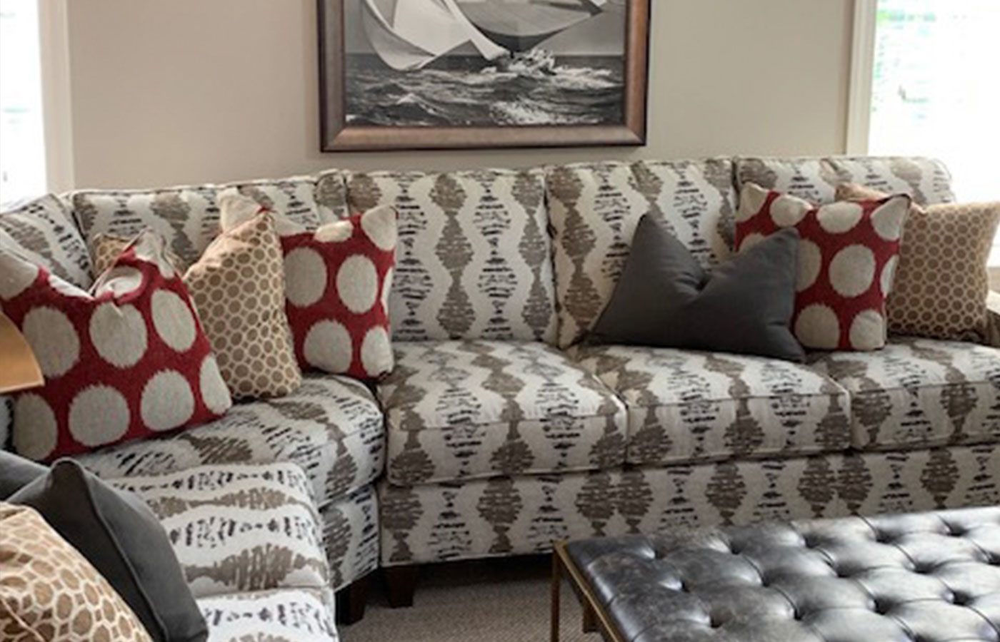 modern sectional with patterned fabric and pillows