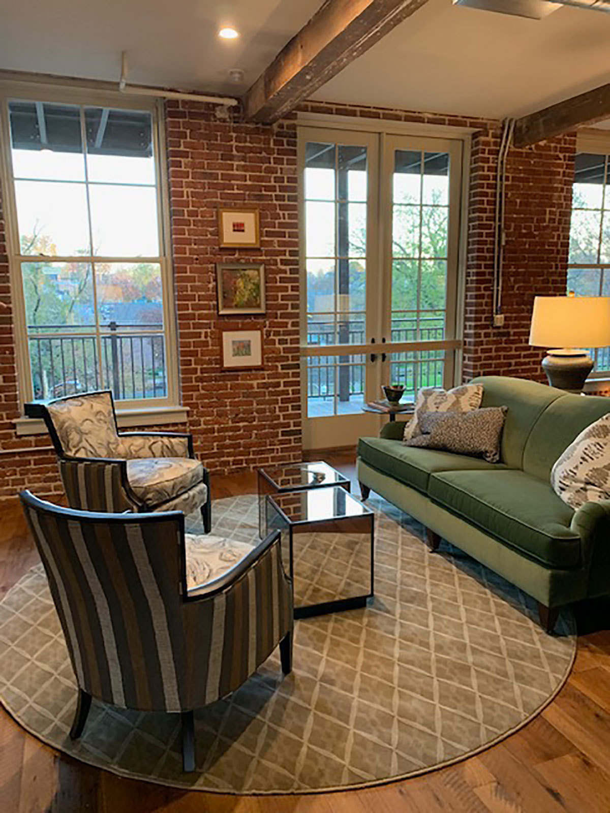 classic seating area in historic brick building